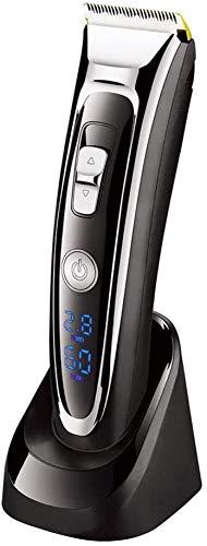 Cordless Hair Clippers for mannen Professional oplaadbare tondeuse harensnijgereedschappen kit met LCD-scherm titanium en keramiek Blades (Zwart) ZHANGKANG