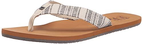 Billabong Women's Baja Flip Flop, White Black, 8