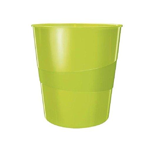 Leitz 6 Papierkörbe Wow, Fassungsvermögen 15 l, Polypropylen, Durchmesser 29 x Höhe 32,4 cm, Grün glänzend