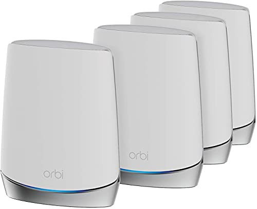 NETGEAR Orbi Mesh WiFi 6 RBK754, Router + 3 satélites, Cobertura de 700 m2, Velocidad AX4200 Tribanda