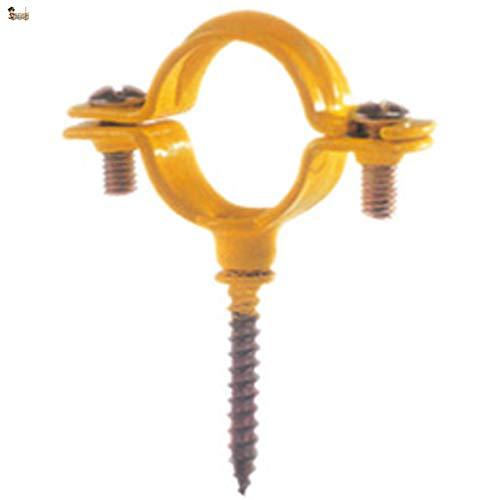BricoLoco Abrazadera metálica plastificada con tornillo para pared. Recubrimiento plástico. Especialmente diseñada para sujeción tubos de gas de cobre. (25, Apertura 34-35 mm.)