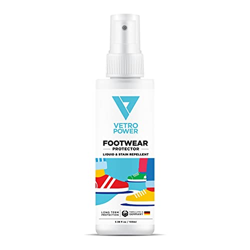 Vetro Power Shoe Protector Spray 3.38 fl oz (100ml) Invisible Water Stain Protection for All Types of Shoes Suede, Nubuck, Sheepskin, Fabric (1-Pack)