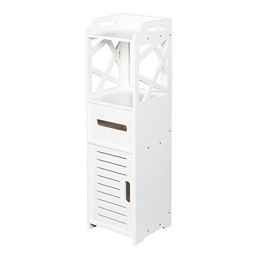 White PVC Floor Standing Storage Cabinet Bedroom Organizer Furniture Living Room Bathroom Cabinet