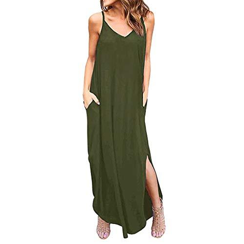 Kaister Frauen Sommer Casual Taschen Strappy Langes Kleid Strand Split Maxi Kleid Bikini Bluse Bademode