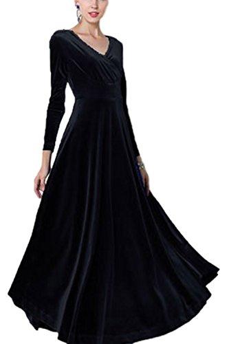 Sevozimda Damen Samt Kleider Lang Langarm V-Ausschnitt Elegant Party Maxi Kleid Black S