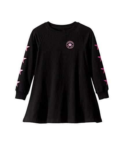 Converse Kids Girl's Long Sleeve Chuck Patch Dress (Little Kids) Black 4 Little Kids