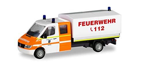 herpa 094979 Mercedes-Benz Sprinter Doppelkabine mit Plane Feuerwehr Rhede Auto/LKW in Miniatur zum Basteln Sammeln und als Geschenk, Mehrfarbig