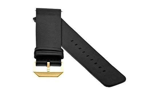 slow - Schwarzes Lederband mit goldenem Verschluss - 20mm Breite