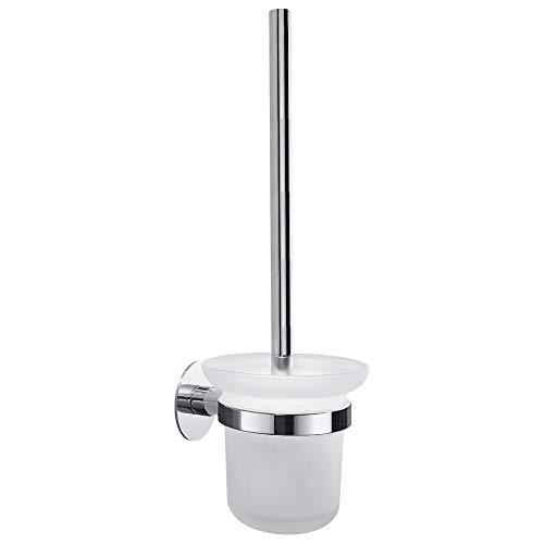 Hoomtaook Brosse WC Brosse Toilettes WC Toilette Auto-adhérence, Acier Inoxydable et Verre, Finition Brossée avec Une Tête de Brosse Supplémentaire