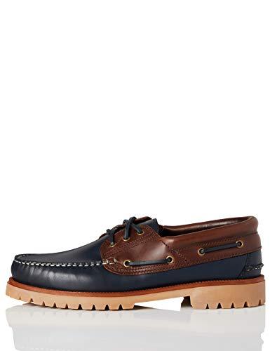 find. AMZ142 - Leather Náuticos, Zapatos para Hombre,Marino/Marron, 43 EU