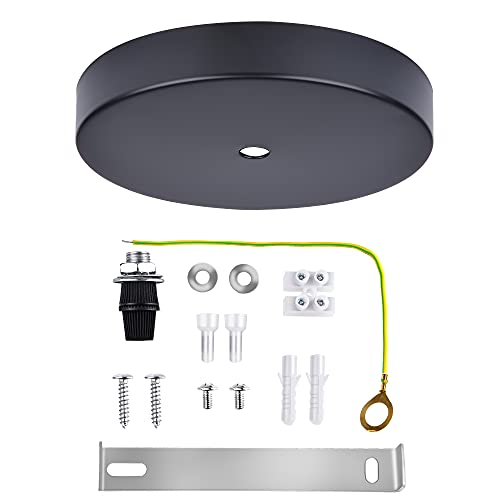Arturesthome Industrial Rewind Ceiling Canopy Kit, Single Hole Extra Depth and Width Ceiling Plate for Pendant Light or Chandelier - Black 15cm