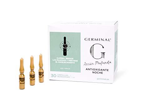 Germinal - Sérum Facial con Efecto Antioxidante, Antiedad y Antimanchas, con Vitamina C, Vitamina E y Vitamina B12 - Acción Profunda - 30 ampollas x 1ml