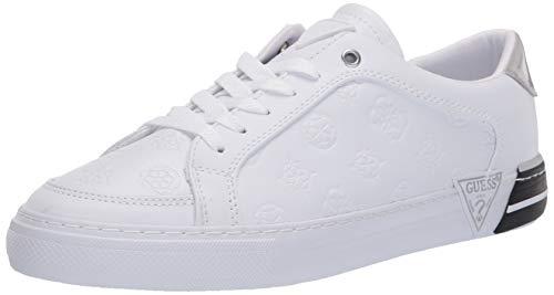 GUESS Women's Fashion Sneaker, White/Black, 10