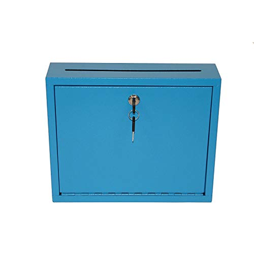 """AdirOffice Multi Purpose Mail Box with Lock - Heavy Duty Drop Box - Commercial Suggestion Box -Wall Mountable Safe and Secure Ballot Box - 3"""" x 10"""" x 12"""" - Blue"""