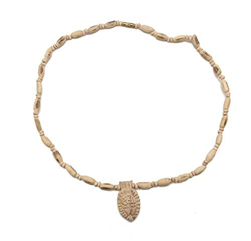 Mundo espiritual Hare Krishna de madera Tulsi (Tyulsi) Kanthi Mala con collar de medallón con diseño de nombre de Radha natural