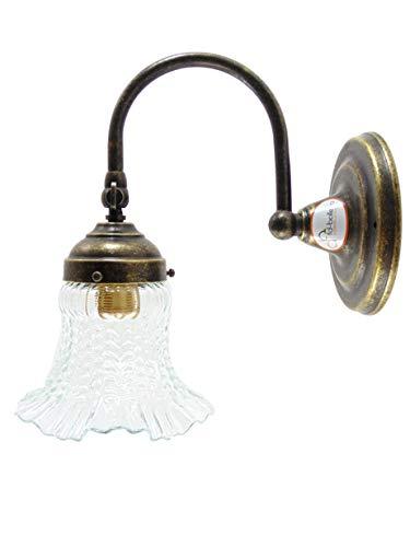 Applique ottone brunito,lampada illuminazione da parete per interno a una luce con vetro stile liberty ac1 Misure: Sporgenza circa 20,5cm, Ø paralume 13cm, Ø base 12cm.