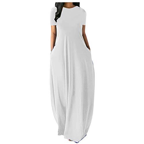 Routinfly Ropa informal, de noche, vestido de mujer, vestido de manga larga, vestido bohemio, informal, talla grande, cuello redondo, con bolsillos, vestido largo sin mangas.
