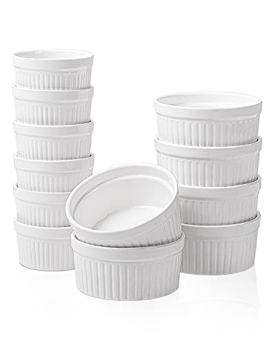 Porcelain Ramekins Set - 12Pack Souffle Dish Ramekins for Baking -4oz x6,8oz x6 -White Ramekins Bowls-Ramekin Oven Safe - Baking Cups for Creme Brulee Desserts Puddings Custard