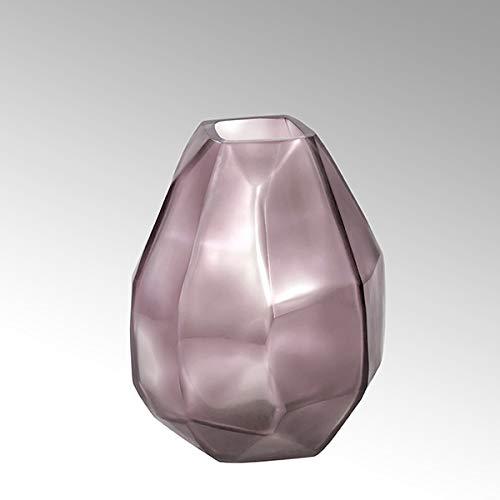 Lambert Pietro glazen vaas m/facetten rond roze H25 D19 cm 17739