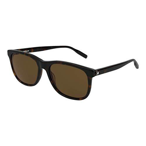 Montblanc Mens Square Frame Havana Acetate Sunglasses 123975