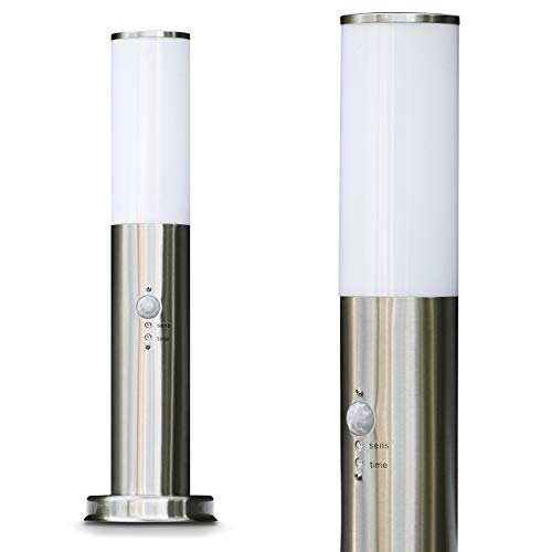 Außenleuchte Caserta mit Bewegungsmelder, moderne Sockelleuchte aus Edelstahl und Kunststoff-Scheiben, Wegeleuchte 45 cm, Gartenlampe mit E27-Fassung, max. 15 Watt, Gartenbeleuchtung IP44