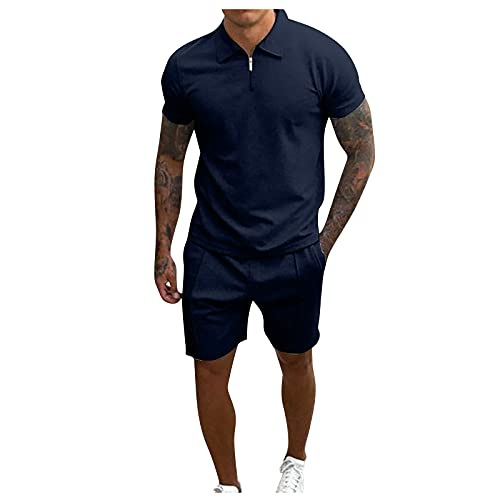 JIAYOUA Herren Sportanzug T-Shirt Shorts Outfit 2-Teiliges Oversize Sommer Trainingsanzug Kurzarm Stehkragen Tops Kurze Hose Freizeitanzüge Jogginganzug für Männer Fitness Gym Running