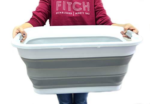 SAMMART Set of 2 Collapsible Plastic Laundry Basket - Foldable Pop Up Storage ContainerOrganizer - Portable Washing Tub - Space Saving HamperBasket 2 Rectangular Grey