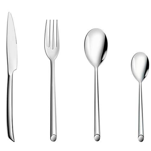 Juego de cubiertos de acero inoxidable de 16 piezas, vajilla familiar con cuchillo cuchara tenedor, servicio para 4 personas – pulido espejo y apto para lavavajillas (12 estilos)