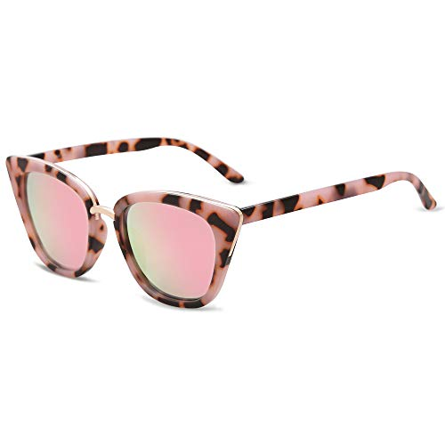 SOJOS Donna Occhiali da Sole Moda Occhi di gatto Occhiali SJ2052 (C7 Rosa Demi Telaio/Rosa Lente) …
