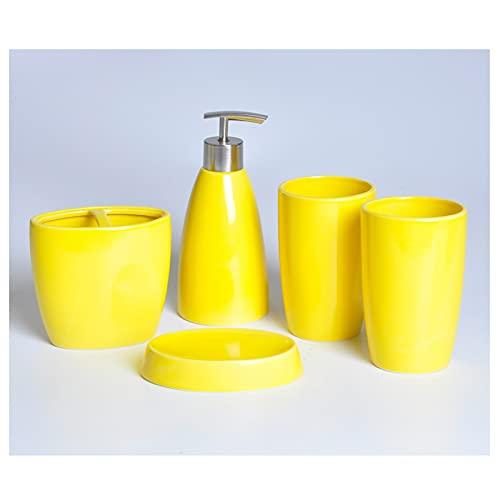 Dispensador de Bomba de Jabón Dispensador de jabón de 4 piezas de cerámica Dispensador para el hogar Artículos de aseo Loción cosmética Botella / Taza de enjuague bucal / Tenedor de cepillo de dientes