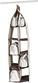 Dearjana Hanging Handbag Organizer Dust-Proof 10 Pockets Hanging Closet Bags Organizer Purse Bag Collection Storage Holder Wardrobe Closet Space Saving Organizers System for Home Use(Brown)