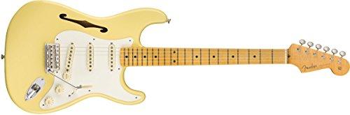 Fender Eric Johnson Stratocaster Thinline Semi Hollow Body Electric Guitar (Vintage White)
