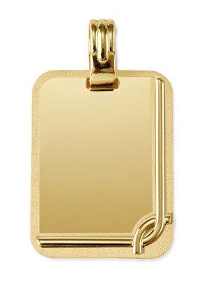 Rechteckige Platte-Anhänger-Set matt, 9 k (375) Gold, Höhe: ca. 22 mm: 13 mm breit-www.diamants-perles.com