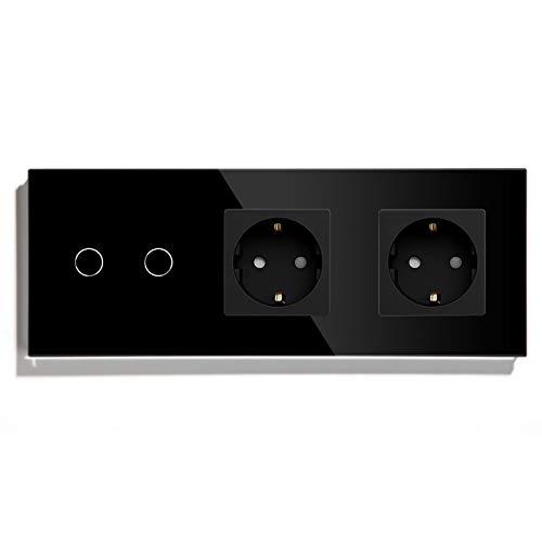 BSEED Interruptor con Enchufe Doble,2 Gang 1 Vía interruptor luz pared con Enchufe de pared,Negro Interruptor tactil de Luz pared con indicador LED,enchufes de extensión con panel de vidrio templado
