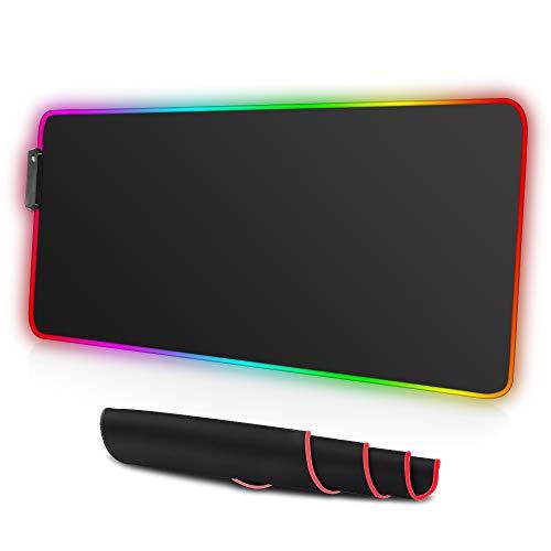 ARCHEER Tappetino Mouse Gaming,RGB Tappetino per Mouse di Grande Taglia con 12 Effetti Luce,Superficie Liscio e Base in Gomma Antiscivolo Tappetino Mouse per Computer, PC e Laptop(XXL 800x300x4,0 mm)