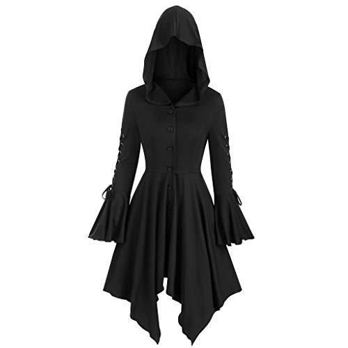 GOKOMO Mantel Frack Jacke Gothic Gehrock Uniform Kostüm Party Outwear Karneval Damenfrack Frauen Übergrößen Lang(Schwarz,Medium)