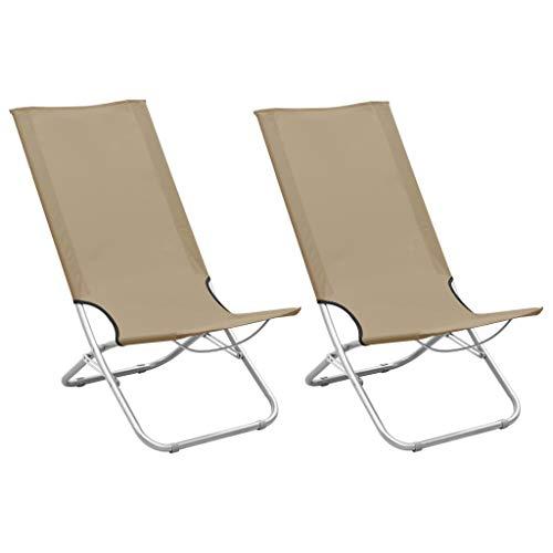 vidaXL 2X Strandstuhl Klappbar Klappstuhl Campingstuhl Faltstuhl Gartenstuhl Strandliege Liegestuhl Strandstühle Outdoor Taupe Stoff