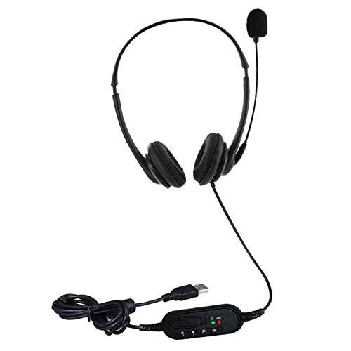 Auricolare USB Con Microfono Regolabile, Auricolare Professionale Con Cancellazione del Rumore Aziendale Con Cavo Per Cuffie da 2m, Plug and Play, Per Call Center Vocale, Riunioni Online,Etc