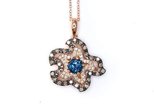 LeVian Deep Sea Bright Blue Topaz Chocolate White Diamonds Sea Star Beach Pendant Necklace 14k Rose Gold NEW