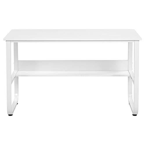 Escritorio, mesa de ordenador con estante, mesa de oficina en forma de U, mesa de oficina en estilo industrial, para la oficina, marco de metal estable, 120 x 60 x 73 cm, color blanco