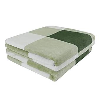 PiccoCasa Couverture en flanelle polaire pour chiot Motif buffle Plaid Tapis de canapé lit pour chiens de petite et moyenne taille Vert et blanc 76,2 x 101,6 cm
