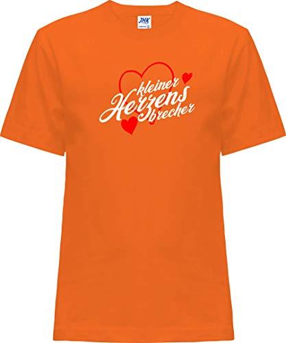 Kleckerliese - Camiseta infantil de manga corta con frases para chicos y niñas, diseño de pequeño corazón naranja 2 Años