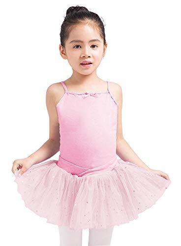 Dancina - Leotardo Vestido de Baile con Tutu en Algodón y Lycra para Niña 4-5 años Rosa