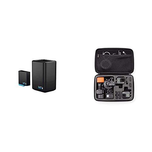 GoPro Dualladegerät + Akku für HERO8 Black/HERO7 Black/HERO6 Black (Offizielles GoPro Zubehör) & Amazon Basics Tragetasche für GoPro Actionkameras, Gr. L