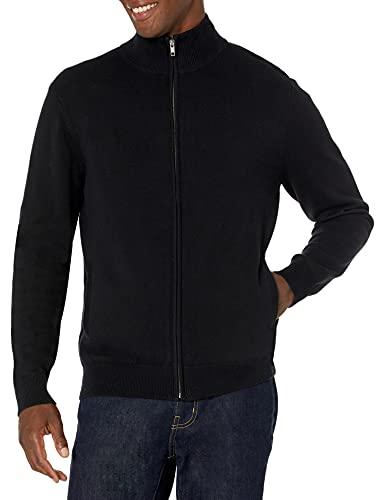 Amazon Essentials Herren Cotton Full-Zip Sweater, black (Black), US M