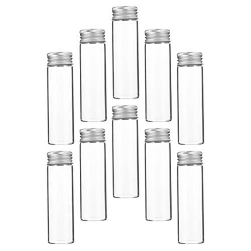 Cabilock 10 Unidades de Botellas Transparentes Recargables Vacías 80Ml Viales de Vidrio Portátiles de Viaje Contenedor Pequeño con Tapón de Rosca de Aluminio para Cosméticos de Aceites