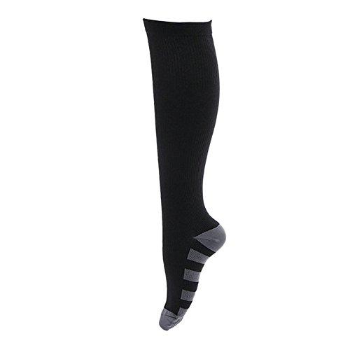 Brave Pioneer Chaussettes Compressions 1 Paire Course Pied Sport pour Courir Randonnée Marche Homme Femme (Noir, S/M)