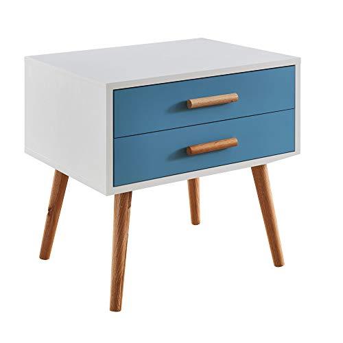 FineBuy Nachttisch 50x40x50 cm Weiß/Blau Matt 2 Schubladen | Nachtkonsole skandinavisches Design | Nachtschrank Nachtkommode Holzbeine
