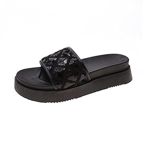 Sandalias para mujer, elegantes lentejuelas brillantes, puntera abierta, sandalias de plataforma antideslizante para verano, Black, 38.5 EU