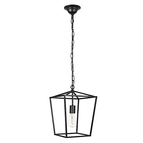 Unicozin Pendant Light Hanging Lantern Lighting Fixture for Kitchen and Dining Room, Industrial Retro Iron Chandelier Fixture,E26 Base, Black (Bulbs Not Included)